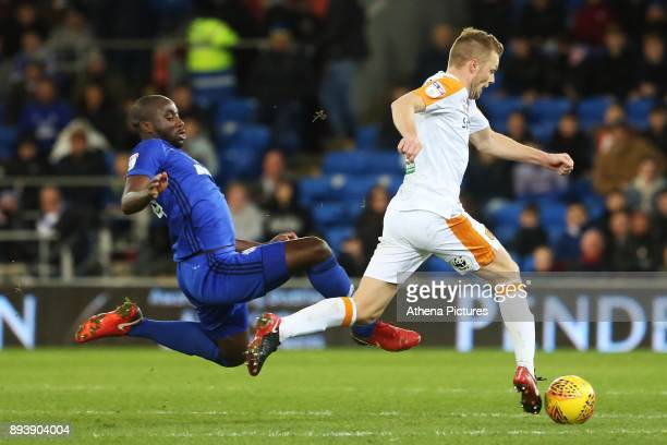 Sol Bamba of Cardiff City challenges Seb Larsson of Hull City during the Sky Bet Championship match between Cardiff City and Hull City at the Cardiff...