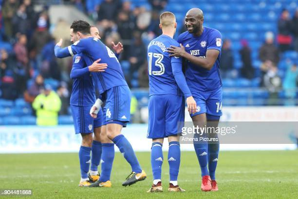 Sol Bamba of Cardiff City congratulates Anthony Pilkington after the final whistle of the Sky Bet Championship match between Cardiff City and...