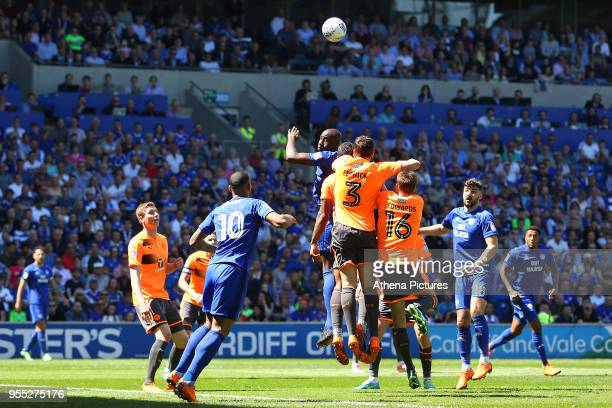 Sol Bamba of Cardiff City contends with Tommy Elphick of Reading for there aerial ball during the Sky Bet Championship match between Cardiff City and...