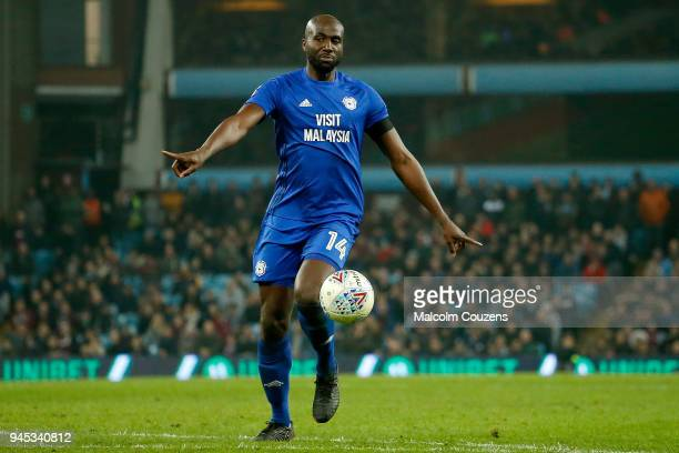 Sol Bamba of Cardiff City during the Sky Bet Championship match between Aston Villa and Cardiff City at Villa Park on April 10 2018 in Birmingham...