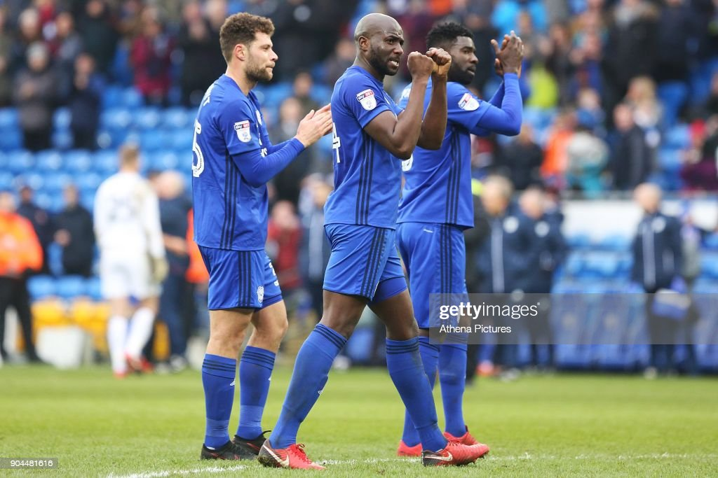 Sol Bamba of Cardiff City fist punches the air after the final whistle of the Sky Bet Championship match between Cardiff City and Sunderland at the Cardiff City Stadium on January 13, 2018 in Cardiff, Wales.