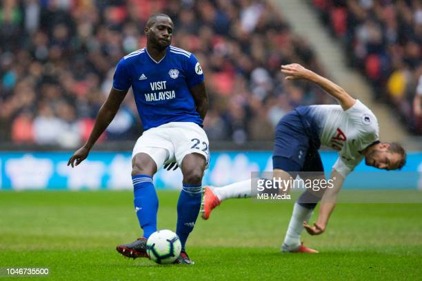 Sol Bamba of Cardiff City in action during the Premier League match between Tottenham Hotspur and Cardiff City at Tottenham Hotspur Stadium on...