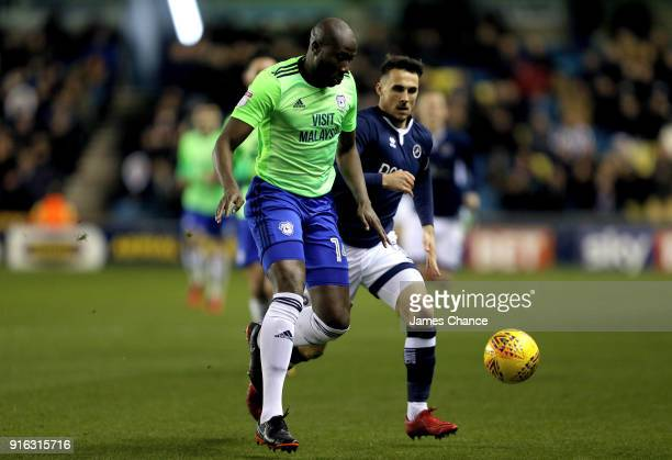 Sol Bamba of Cardiff City is challenged by Lee Gregory of Millwall during the Sky Bet Championship match between Millwall and Cardiff Cityat The Den...