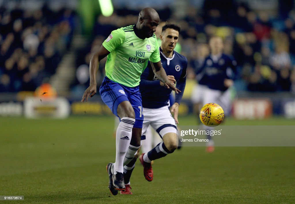 Sol Bamba of Cardiff City is challenged by Lee Gregory of Millwall during the Sky Bet Championship match between Millwall and Cardiff Cityat The Den on February 9, 2018 in London, England.