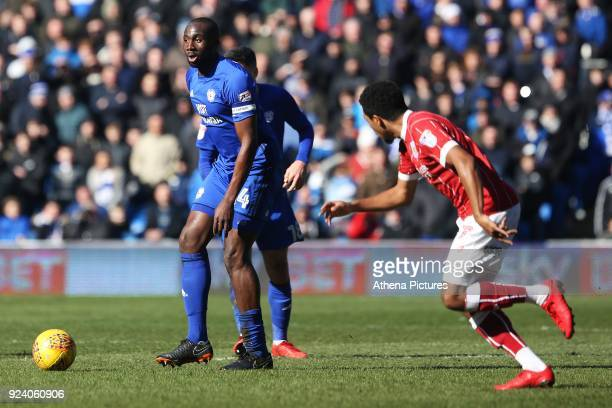 Sol Bamba of Cardiff City is marked by Korey Smith of Bristol City during the Sky Bet Championship match between Cardiff City and Bristol City at the...