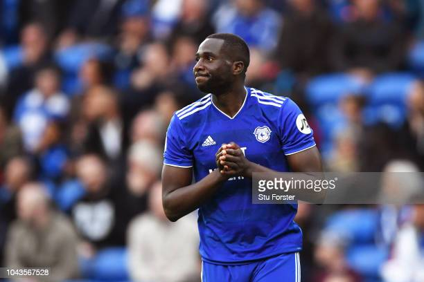 Sol Bamba of Cardiff City looks dejected after the Premier League match between Cardiff City and Burnley FC at Cardiff City Stadium on September 30...