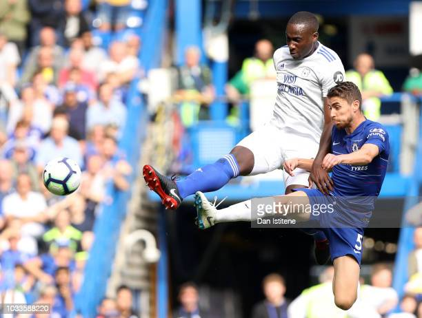 Sol Bamba of Cardiff City scores his team's first goal during the Premier League match between Chelsea FC and Cardiff City at Stamford Bridge on...