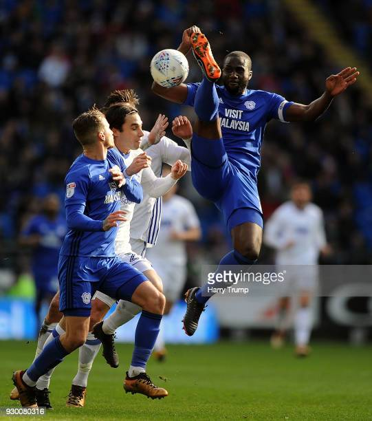 Sol Bamba of Cardiff City wins the aerial ball during the Sky Bet Championship match between Cardiff City and Birmingham City at the Cardiff City...