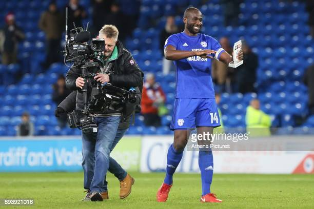 Sol Bamba of Cardiff City with his man of the match award after the final whistle of the Sky Bet Championship match between Cardiff City and Hull...