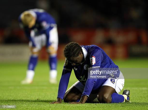 Sol Bamba of Leicester after a missed chance during the npower Championship match between Leicester City and Bristol City at The King Power Stadium...