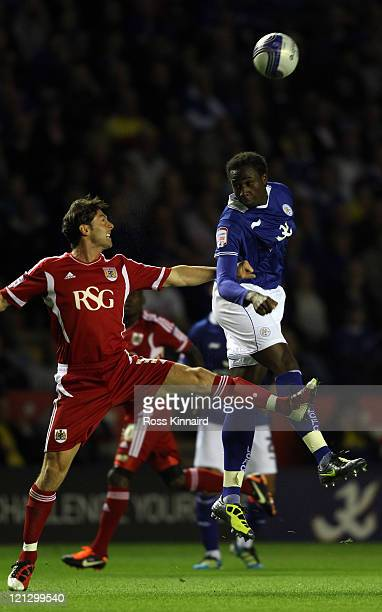 Sol Bamba of Leicester is challenged by Cole Skuse of Bristol during the npower Championship match between Leicester City and Bristol City at The...
