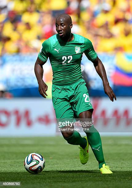 Sol Bamba of the Ivory Coast in action during the 2014 FIFA World Cup Brazil Group C match between Colombia and Cote D'Ivoire at Estadio Nacional on...