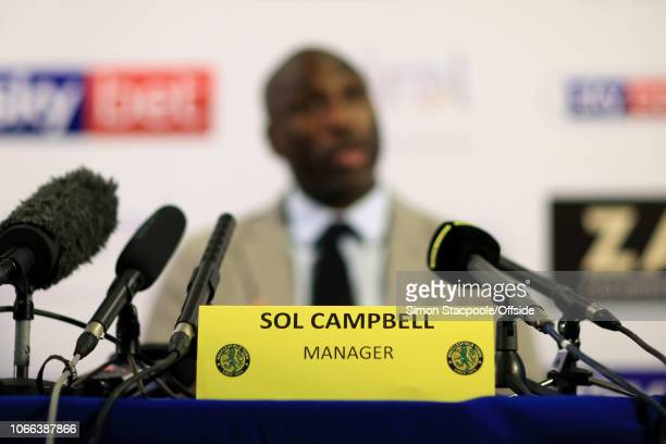 Sol Campbell is presented as the new manager of Macclesfield Town during a press conference at Moss Rose Ground on November 29, 2018 in Macclesfield,...