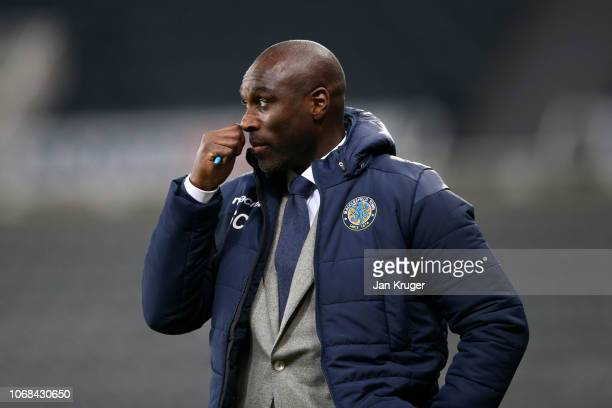 Sol Campbell Manager of Macclesfield Town looks on during the Checkatrade trophy match between Newcastle United U23 and Macclesfield Town at St James...