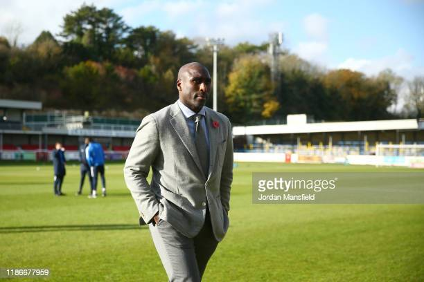 Sol Campbell manager of Southend United walks on the pitch prior to the FA Cup First Round match between Dover Athletic and Southend United at...