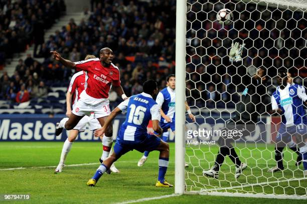 Sol Campbell of Arsenal heads Arsenals first goal of the game during the UEFA Champions League last 16 first leg match between FC Porto and Arsenal...