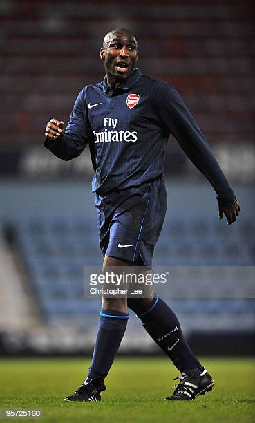 Sol Campbell of Arsenal reserves in action during the Reserves match West Ham United and Arsenal at Boleyn Ground on January 12 2010 in London England