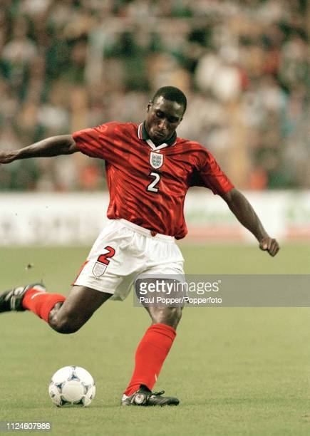 Sol Campbell of England in action during the UEFA Euro 2000 Qualifying match between Sweden and England at the Rasunda Stadium on September 5 1998 in...
