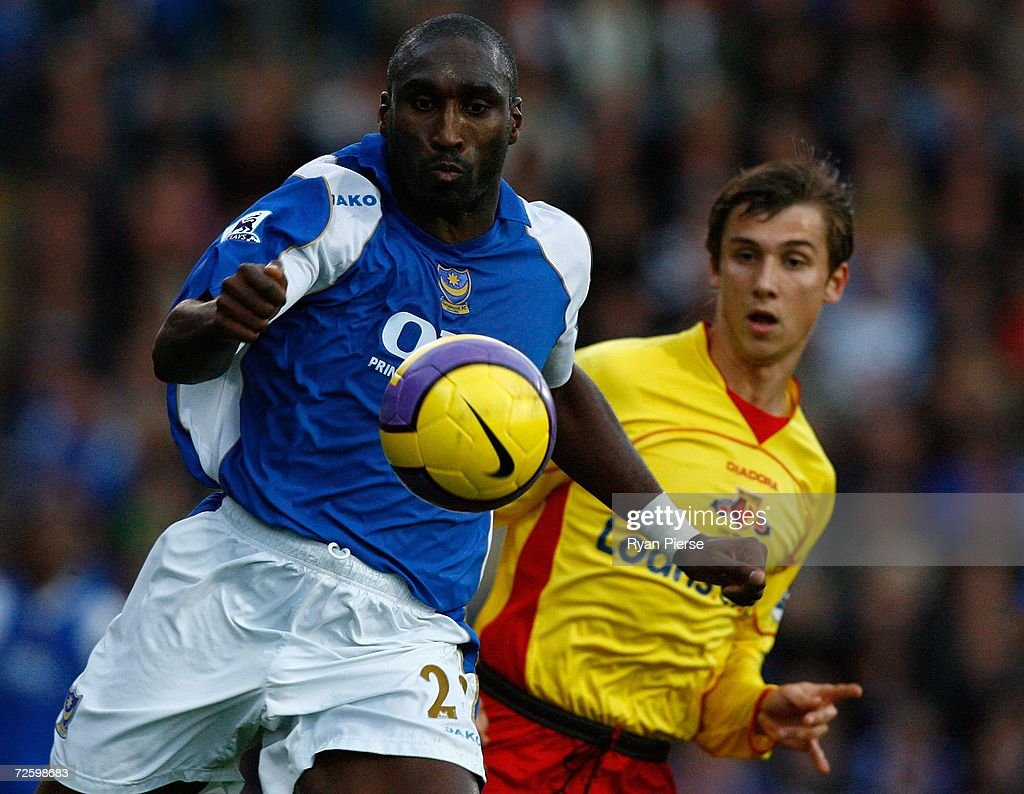Sol Campbell (L) of Portsmouth wins the ball ahead of Tamas Priskin (R) of Watford during the Barclays Premiership match between Portsmouth and Watford at Fratton Park on November 18, 2006 in Portsmouth, United Kingdom.