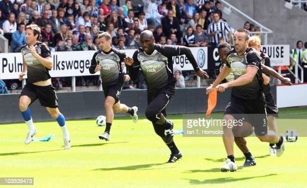 Sol Campbell sprints during a Newcastle United open training session at St James' Park on August 11 2010 in Newcastle Upon Tyne England