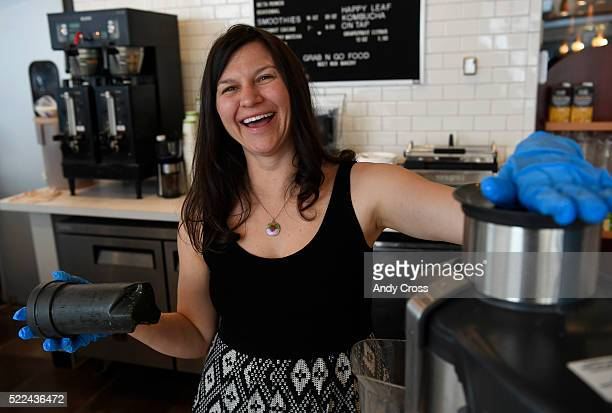 April 19: Sol Kitchen co-owner Leia Mayer has laugh while making a juice drink April 19, 2016. The newly opened organic coffee shop, cafe and juice...