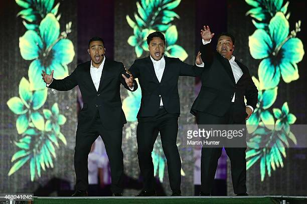 Sol3Mio perform during the Opening Ceremony ahead of the ICC 2015 Cricket World Cup at Hagley Park on February 12 2015 in Christchurch New Zealand