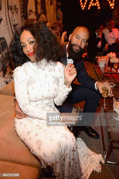 Solange and Alan Ferguson attend the 2015 Vanity Fair Oscar Party hosted by Graydon Carter at the Wallis Annenberg Center for the Performing Arts on...