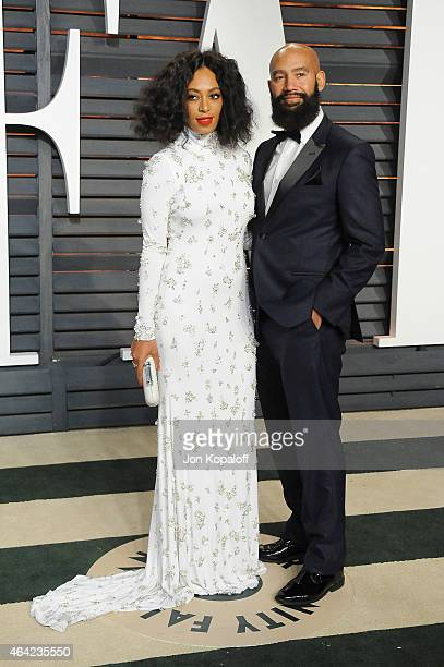 Solange and Alan Ferguson attend the 2015 Vanity Fair Oscar Party hosted by Graydon Carter at Wallis Annenberg Center for the Performing Arts on...