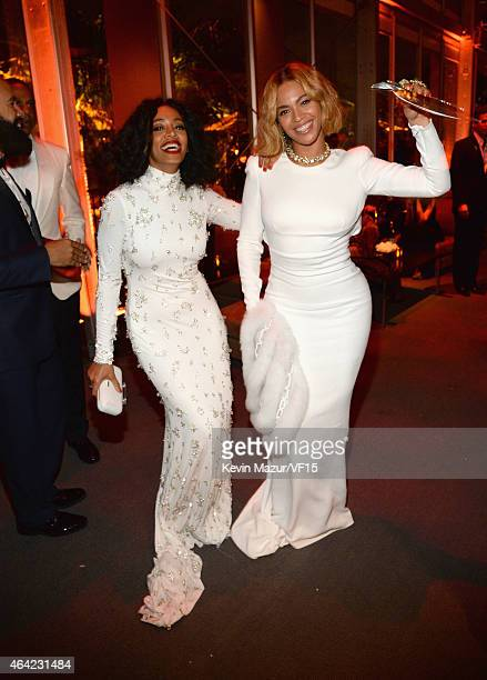 Solange and Beyonce attend the 2015 Vanity Fair Oscar Party hosted by Graydon Carter at the Wallis Annenberg Center for the Performing Arts on...