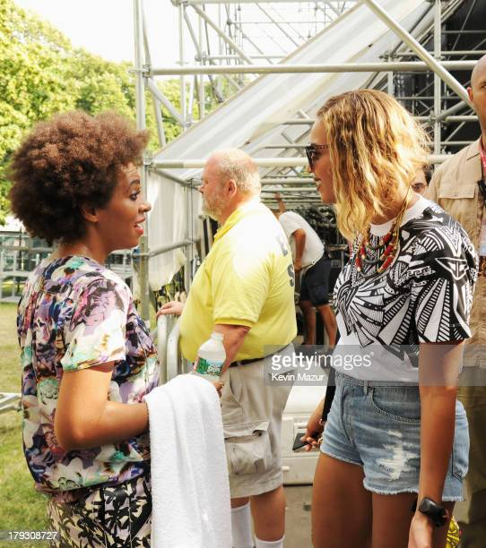 Solange and Beyonce backstage during the 2013 Budweiser Made In America Festival at Benjamin Franklin Parkway on September 1 2013 in Philadelphia...
