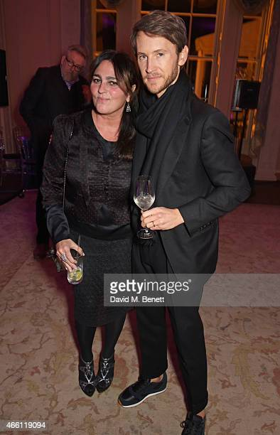 Solange Azagury Partridge and Peter Hawkings attend a party hosted by Vogue Editor Alexandra Shulman in honor of Lucinda Chambers at Home House...