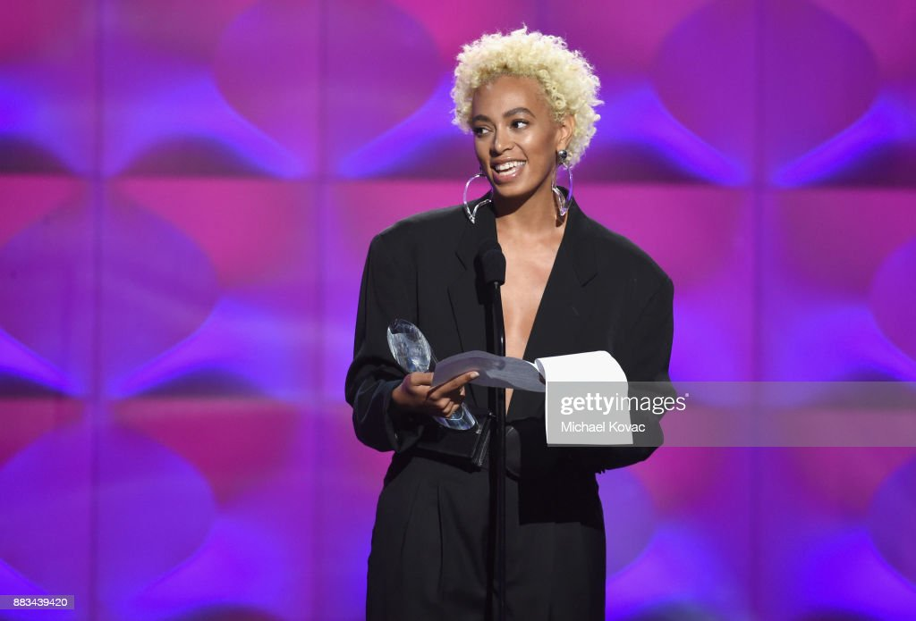 Solange Knowles accepts an award onstage during Billboard Women In Music 2017 at The Ray Dolby Ballroom at Hollywood & Highland Center on November 30, 2017 in Hollywood, California.