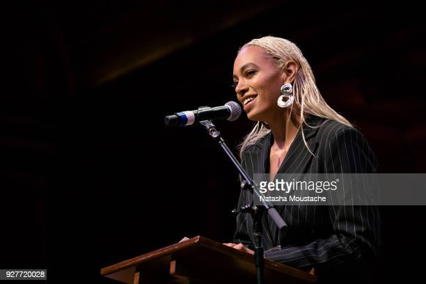 Solange Knowles accepts the Harvard Foundation 2018 Artist of the Year Award at Harvard University's Sanders Theatre on March 3, 2018 in Cambridge,...