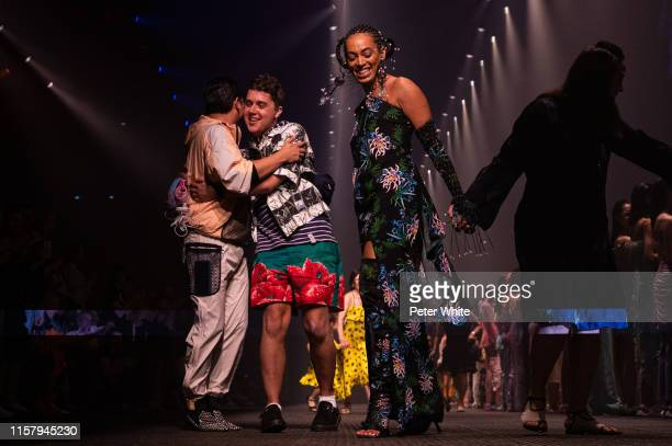 Solange Knowles acknowledges the applause of the public after the Kenzo Menswear Spring Summer 2020 show as part of Paris Fashion Week on June 23,...