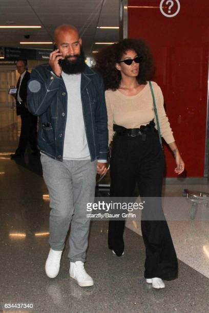 Solange Knowles and Alan Ferguson are seen at LAX on February 09, 2017 in Los Angeles, California.
