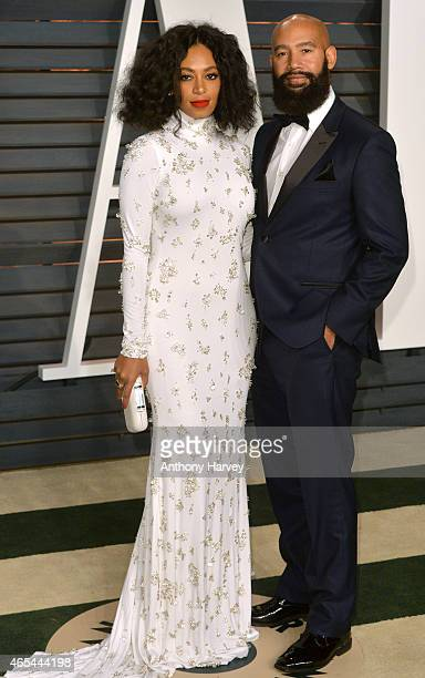 Solange Knowles and Alan Ferguson arrive at the 2015 Vanity Fair Oscar Party Hosted By Graydon Carter at Wallis Annenberg Center for the Performing...