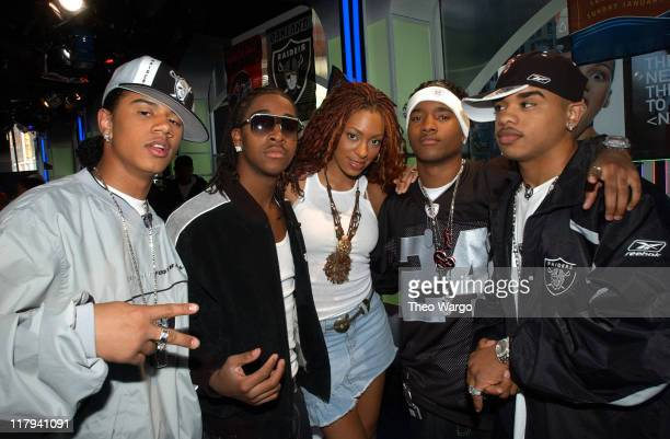 Solange Knowles and B2K during Super Bowl XXXVII MTV's Super Bowl XXXVII Tailgate Spectacular at MTV Studios Times Square in New York City New York...