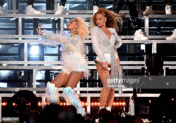 Solange Knowles and Beyonce Knowles perform onstage during the 2018 Coachella Valley Music And Arts Festival at the Empire Polo Field on April 21...