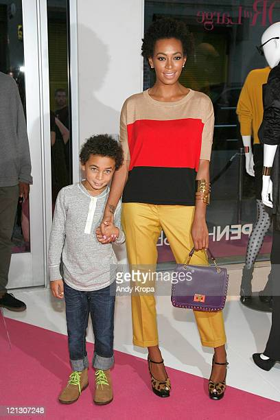 Solange Knowles and her son Daniel Julez Smith Jr attend the INC International Concepts annoucement at Open House Gallery on August 17 2011 in New...