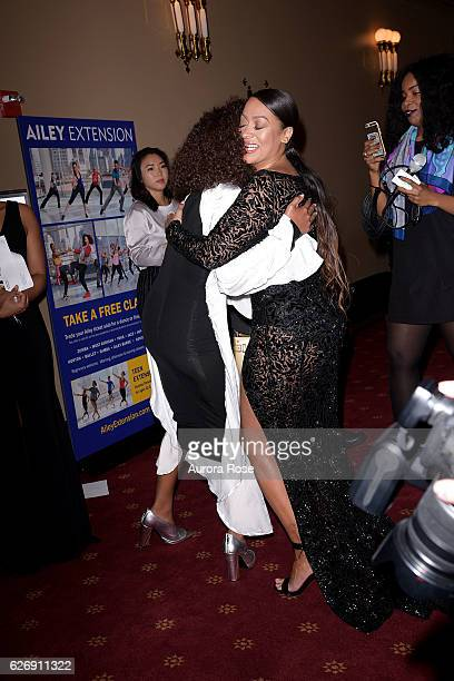 Solange Knowles and La La Anthony attend Alvin Ailey American Dance Theater Opening Night Gala Benefit 'An Evening of Ailey and Jazz' at New York...