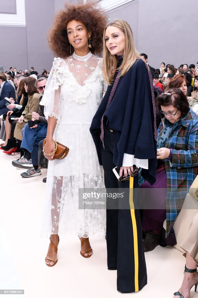 Solange Knowles and Olivia Palermo attend the Chloe show as part of the Paris Fashion Week Womenswear Fall/Winter 2017/2018 on March 2, 2017 in Paris, France.