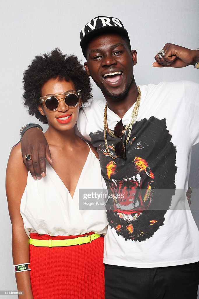 Solange Knowles and Theophilus London pose for a portrait backstage at Fader Fort presented by Converse during SXSW on March 16, 2012 in Austin, Texas.