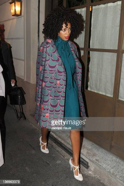 Solange Knowles arrives at Alberta Ferretti Special Event on January 13 2012 in Milan Italy