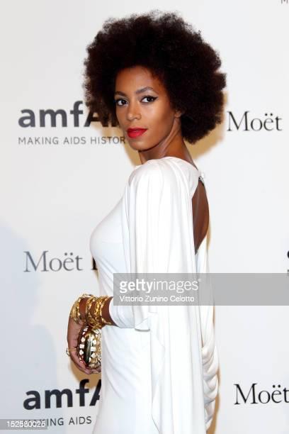 Solange Knowles attends amfAR Milano 2012 during Milan Fashion Week at La Permanente on September 22, 2012 in Milan, Italy.