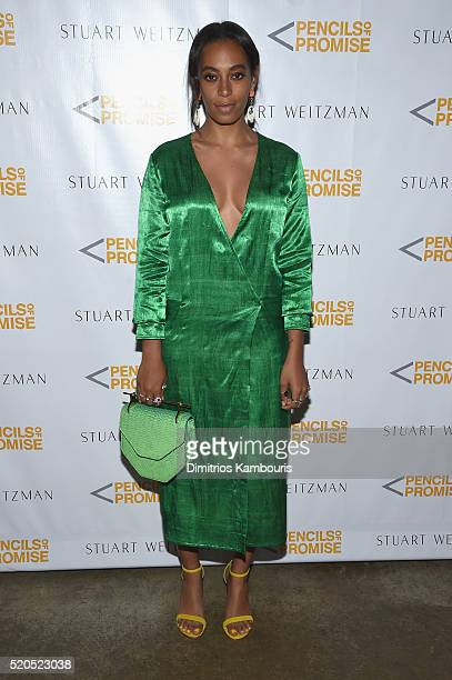 Solange Knowles attends as Stuart Weitzman launches its partnership with Pencils Of Promise at Sadelle's on April 11 2016 in New York City