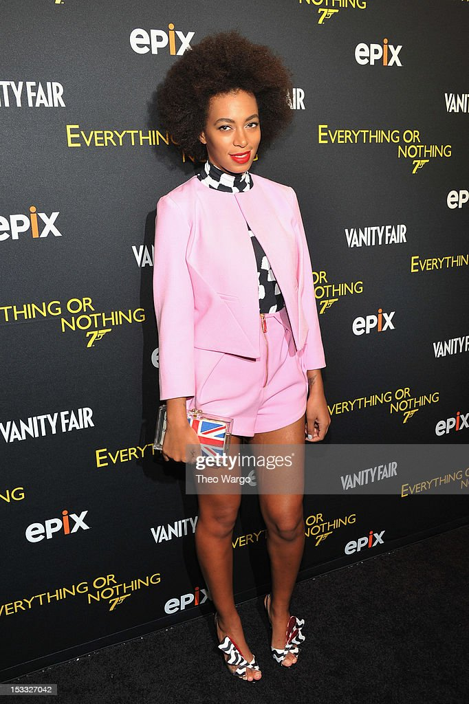 Solange Knowles attends EPIX presents the Premiere screening of 'Everything or Nothing: The Untold Story of 007' at MOMA on October 3, 2012 in New York City.