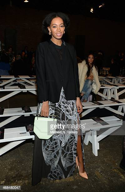 Solange Knowles attends the Honor show during MercedesBenz Fashion Week Fall 2014 at Eyebeam on February 10 2014 in New York City