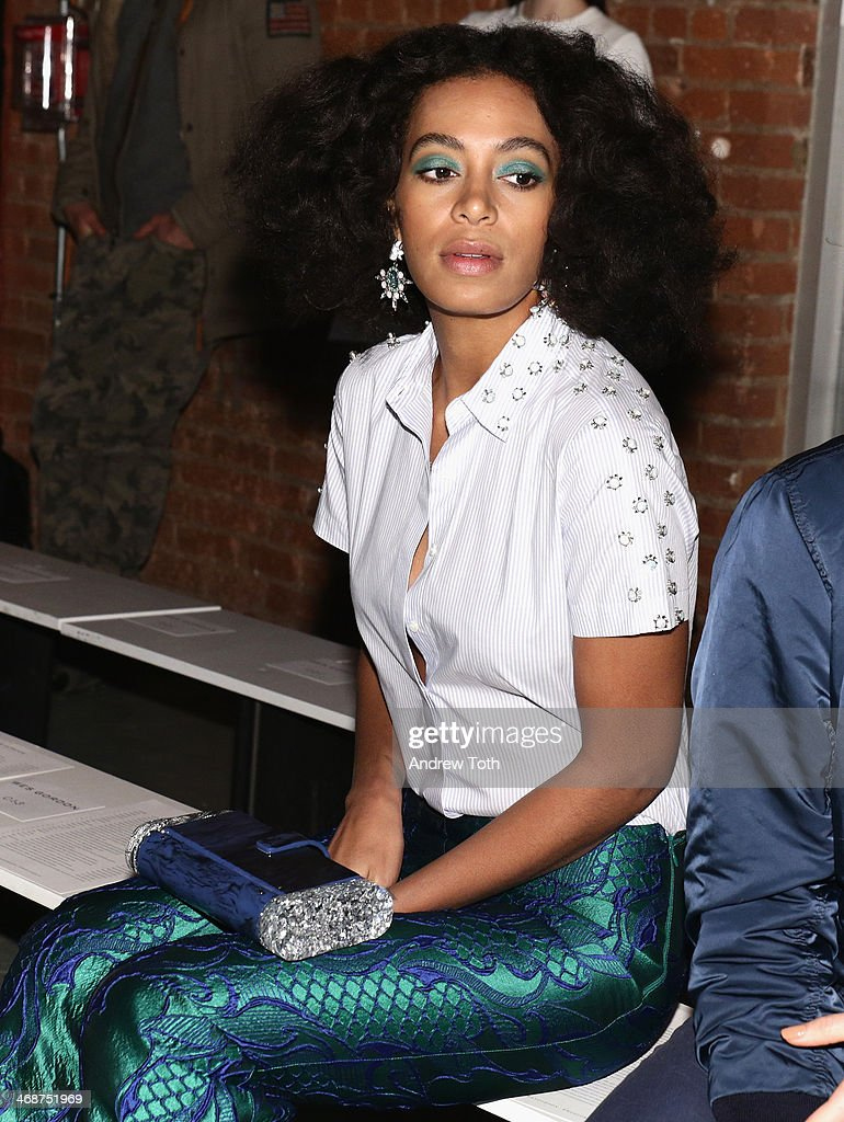 Solange Knowles attends the Wes Gordon fashion show during Mercedes-Benz Fashion Week Fall 2014 on February 11, 2014 in New York City.