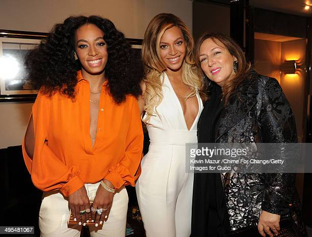 Solange Knowles, Beyonce Knowles and Lorraine Schwartz attend the CHIME FOR CHANGE One-Year Anniversary Event hosted by Gucci Creative Director Frida...