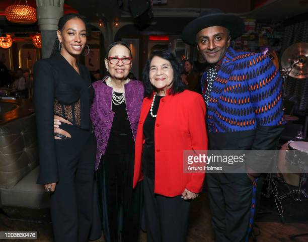 Solange Knowles Gail Lumet Buckley Dolores Huerta and Marcus Samuelsson attend a private dinner in honor of Solange receiving the Lena Horne Prize at...